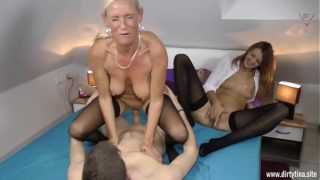 Two Milfs Fucked Wild With a Young Student