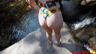 Waterfall Sex After Hiking With Teen Wearing Swimsuit