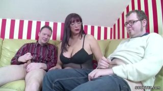 Deutsche Mom Teach Step-son & Pal How to Fuck in Threesome