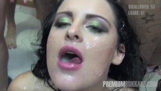 Premium Bukkake – Lola Swallows 51 Massive Mouthful Cum Loads